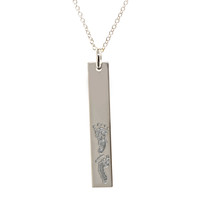 Custom engraved baby footprint necklace. Sterling silver. Fine cable chain.