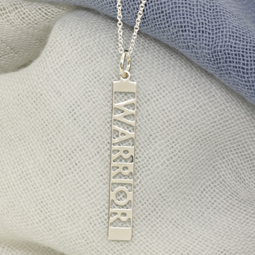 Sterling silver Warrior necklace. Fine cable chain.