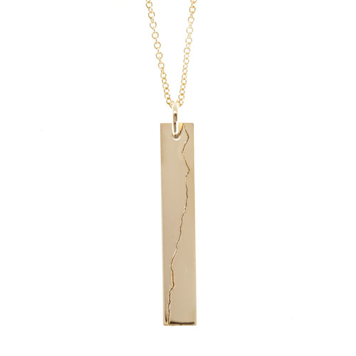 Custom engraved elevation profile necklace. Gold fill. Cable chain.