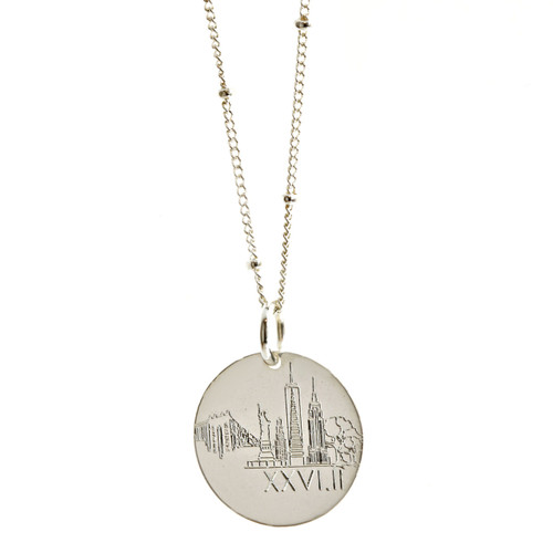 New York City Landmark Marathon Necklace. Show in sterling silver on satellite chain.
