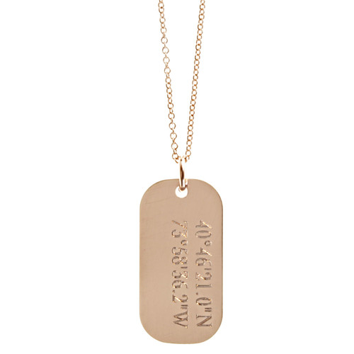 Custom engraved coordinates tag necklace. Show in rose gold fill on fine cable chain.