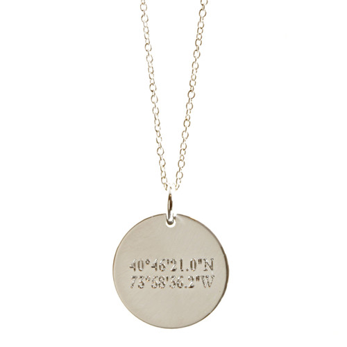 Engraved Coordinates Necklace. Sterling silver, fine cable chain shown.
