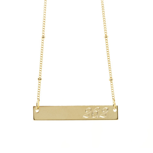 26.2 Marathon ID Necklace. As shown: gold fill,  Atlas font.