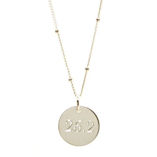 26.2 Marathon Disc Necklace. As shown: sterling silver, satellite chain, cochin font.