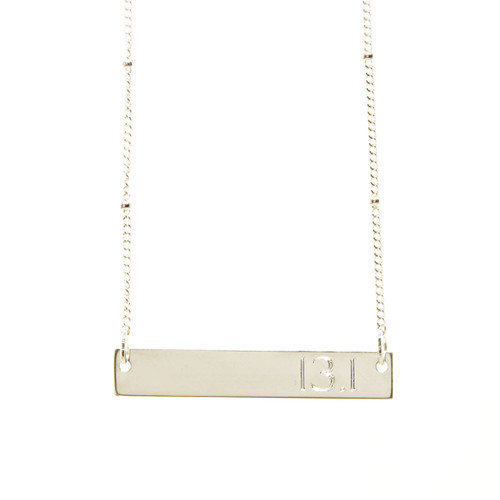 13.1 Half Marathon ID Necklace. As shown: sterling silver, roman font.