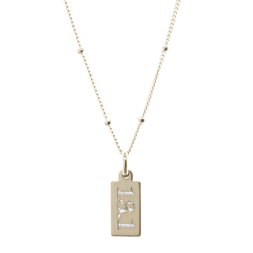 13.1 half marathon engraved necklace. Sterling silver. Satellite chain. Classic font.