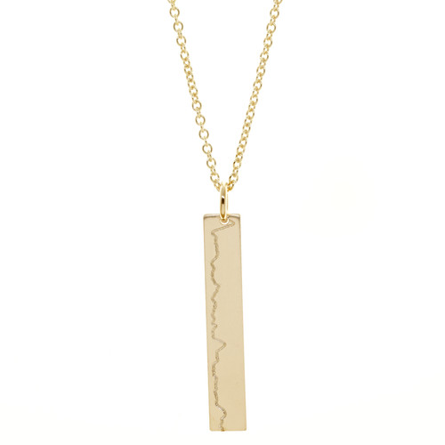 New York City Marathon Elevation Profile engraved line necklace. Shown in gold fill on cable chain.