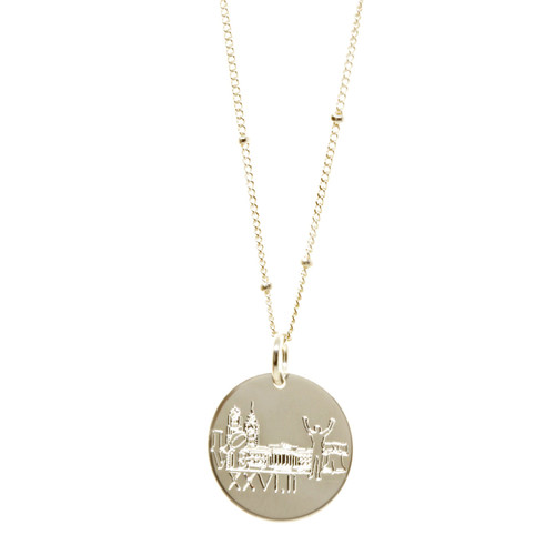 Philadelphia Landmark Marathon Necklace. Show in sterling silver on satellite chain.