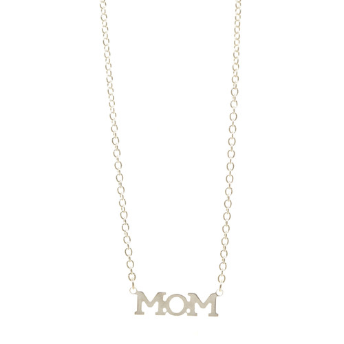 MOM necklace. Sterling silver. Handmade.
