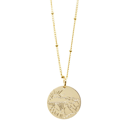 Big Sur Marathon necklace featuring the Brixby Creek Bridge. Gold fill. Satellite chain.