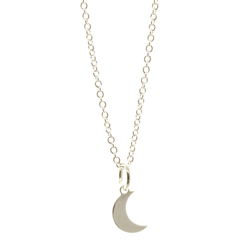 Sterling silver handcrafted moon necklace. Cable chain.