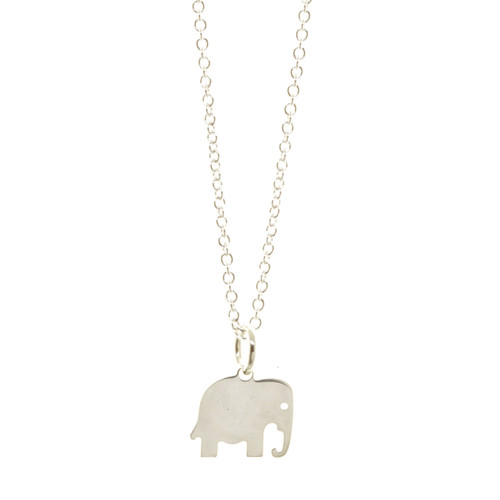 Sterling silver handcrafted elephant necklace. Cable chain.