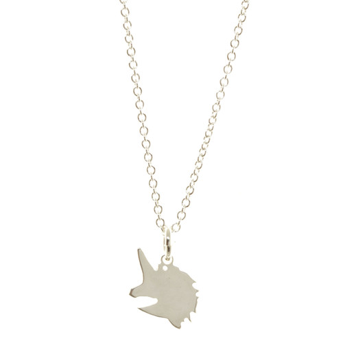 Sterling silver handcrafted unicorn necklace. Cable chain.