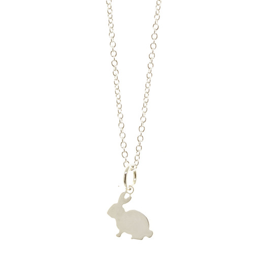 Sterling silver bunny rabbit necklace. Cable chain.