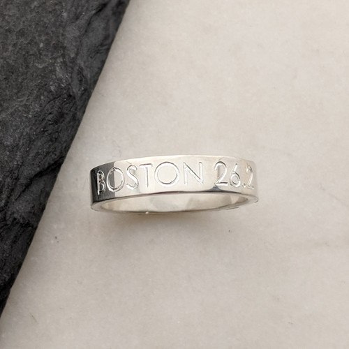 Handcrafted Sterling Silver ring. Engraved with 26.2 and the Boston Marathon elevation profile.