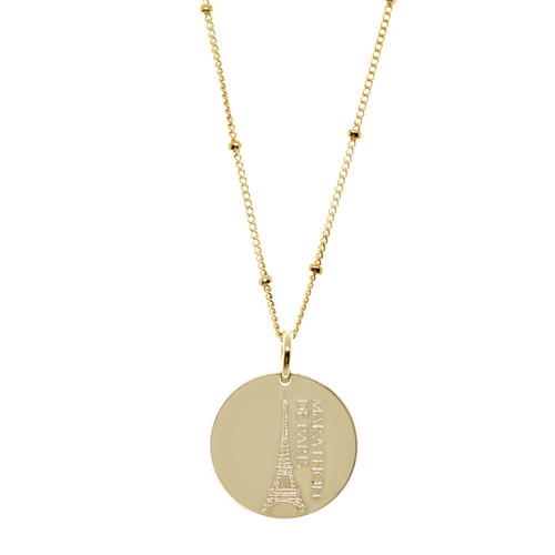 Marathon de Paris necklace featuring the Eiffel Tower. Gold fill. Satellite chain.