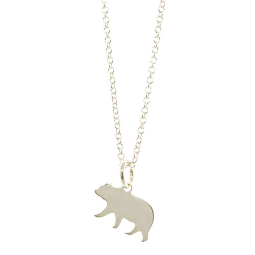 Sterling silver handcrafted Mama Bear necklace. Cable chain.