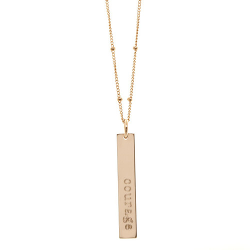 Custom engraved definition necklace. Your word, your definition. Shown in rose gold fill on satellite chain.