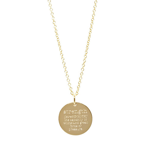Custom engraved definition necklace. Pick your word, your definition. Shown in gold fill on cable chain.