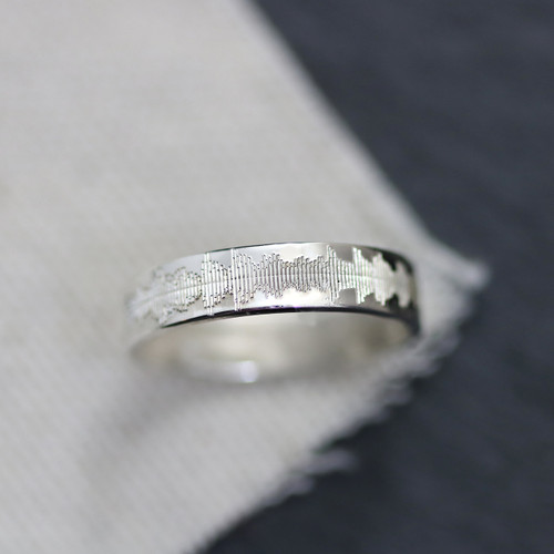 Engraved sound wave ring. Sterling silver.
