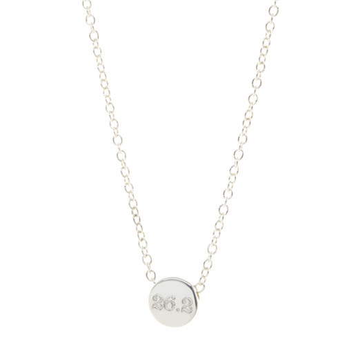 Custom distance bead necklace. 26.2 shown engraved in classic font.