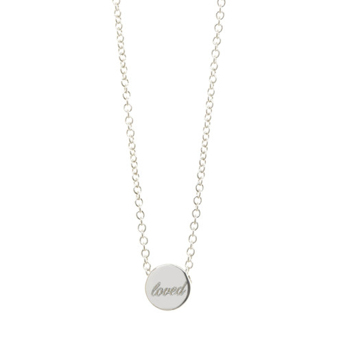 """loved"" Engraved mantra bead necklace. Sterling silver. Shown engraved in Atlas font."