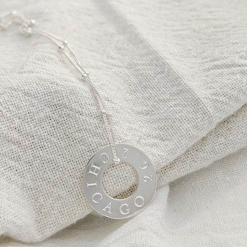 Chicago Marathon 26.2 necklace. Shown in sterling silver on satellite chain, cochin font.