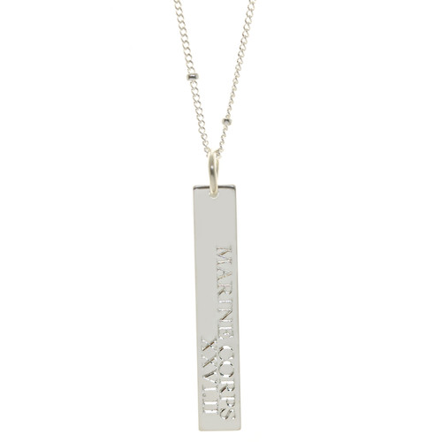 Marine Corps Marathon XXVI.II necklace. Shown in sterling silver on satellite chain. Cochin font.
