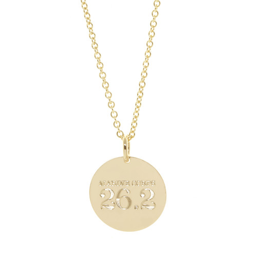 Marine Corps Marathon 26.2 Necklace. Shown in gold fill on cable chain. Classic font.