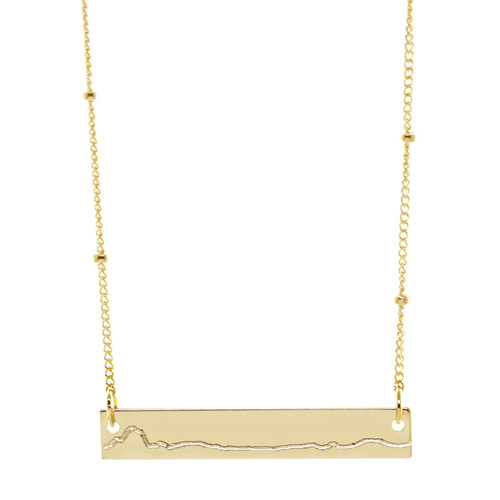Marine Corps Marathon elevation profile necklace. Shown in gold fill.