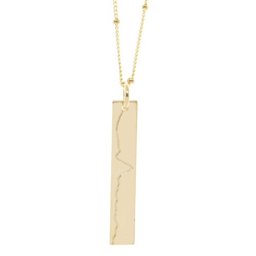 Big Sur Marathon elevation profile necklace. Shown in gold fill on satellite chain.