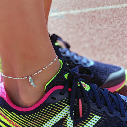 Sterling silver winged foot anklet.