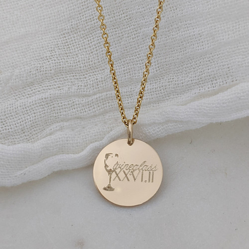 Wineglass Marathon engraved necklace. Shown in gold fill on cable chain.