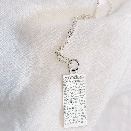 Grandma defined necklace. Shown in sterling silver on cable chain.