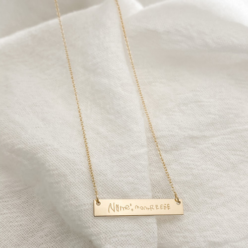 Custom Handwriting Bar Necklace. Shown in gold fill.