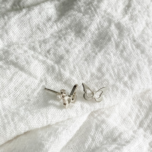 Handcrafted sterling silver butterfly earrings