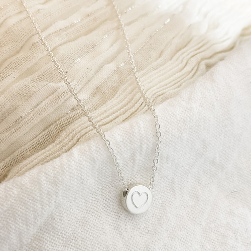 Heart bead necklace. Engraved. Sterling silver.