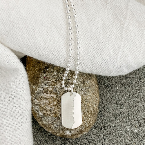 """Elevation profile small dog tag necklace. Shown here engraved with the Boston Marathon elevation profile, sterling silver on a 24"""" ballchain."""