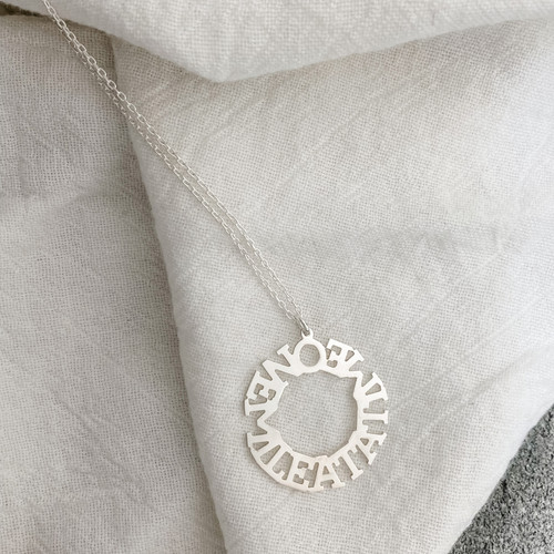 Custom handcrafted Halo necklace. Shown here on cable chain.