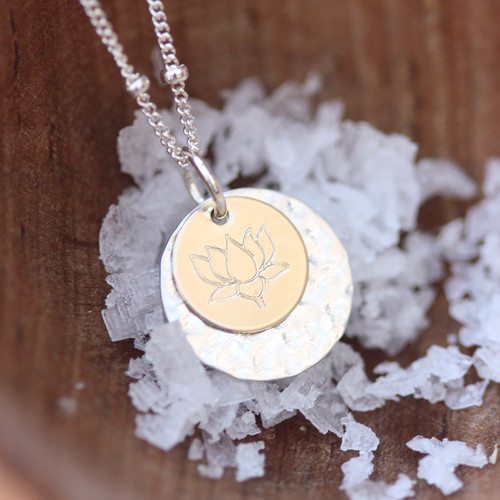 Lotus flower hammered necklace.