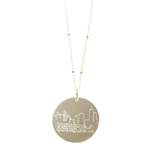 Boston Strong 26.2 Necklace. Sterling silver. Satellite chain.