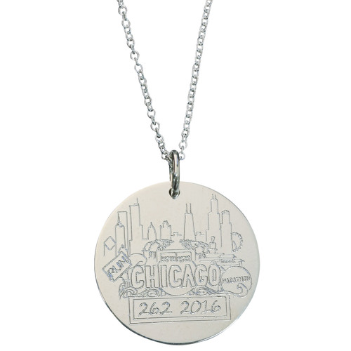 Sarah Marie Designs Chicago Marathon necklace. Shown in sterling silver on cable chain.