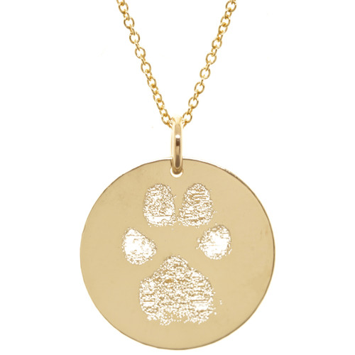 Custom Engraved Paw Print. Gold fill. Fine cable chain.