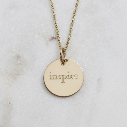 Gold fill inspire charm in cochin font. Gold fill. FIne cable chain.