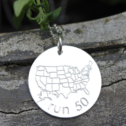 Run 50 States charm. Sterling silver.