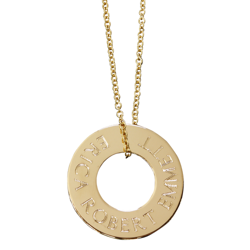 Gold fill on fine cable chain. Typewriter font.