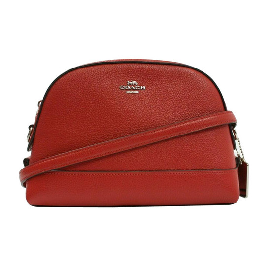 Coach Leather Dome Crossbody Bag Bright Cardinal