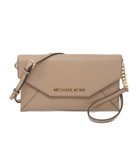Michael Kors Jet Set Envelope Clutch Dark Khaki Leather