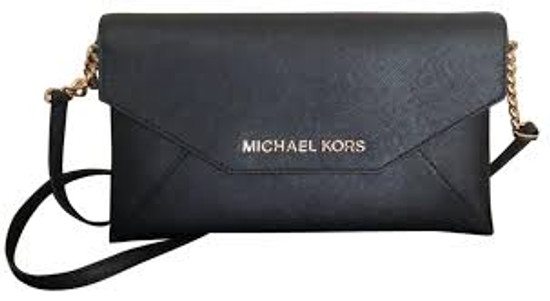 Michael Kors Jet Set Envelope Clutch Black Leather