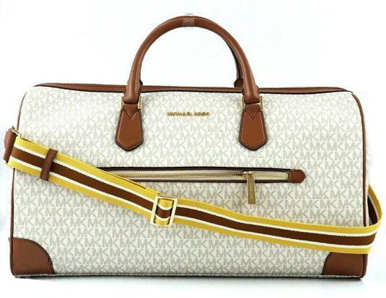 Michael Kors Travel Large Duffle Bag in PVC Signature Vanilla